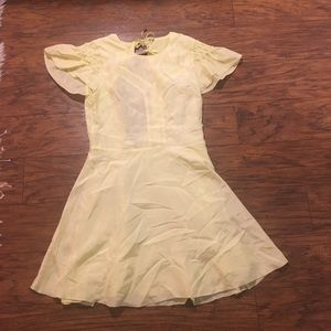 Free People Dresses - Free People Follow Along Yellow Silk Mini Dress